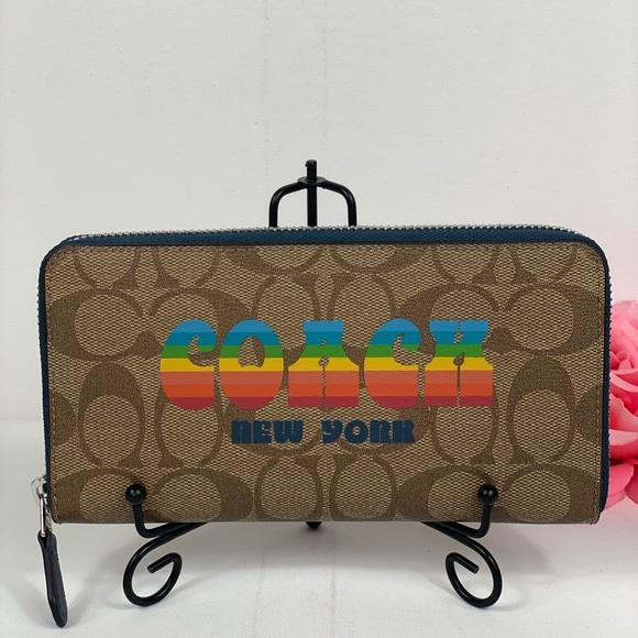 Coach Handbags - Coach Accordion Wallet Retro Rainbow Animation